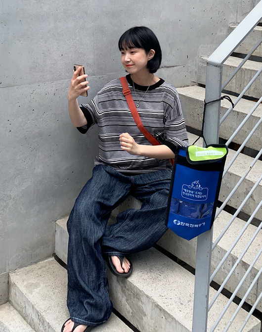 baon-[24시간 new 5% sale] [unisex] 로텐스 스트라이프 반팔 니트 (2color)♡韓國女裝上衣