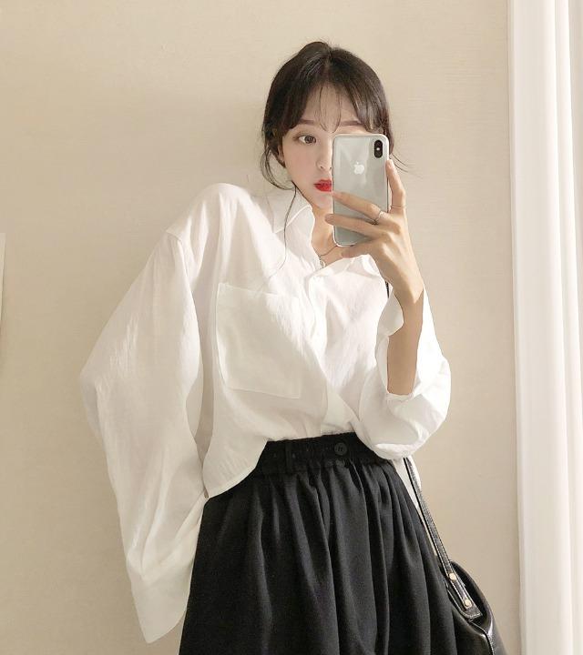 uniqueon-린넨 루즈여리여리핏 크롭 블라우스 셔츠 [H0496]♡韓國女裝上衣