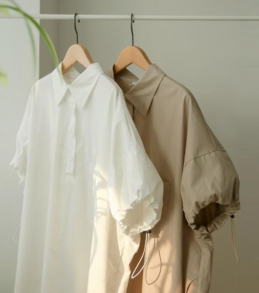 roompacker-룸페커 [스트링 소매 오버핏 롱셔츠]♡韓國女裝上衣