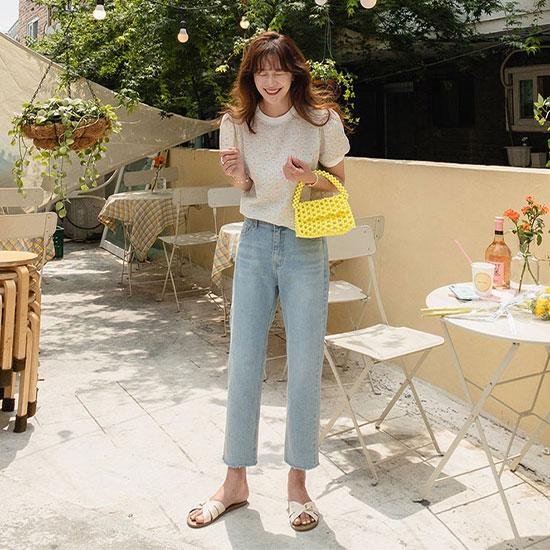 leelin-[로맨스 일자 데님 밴딩 팬츠 [size:S,M,L]]♡韓國女裝褲