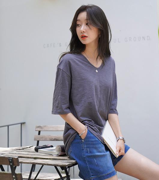 roompacker-룸페커 [로하 U넥 루즈핏 슬라브 반팔 탑]♡韓國女裝上衣