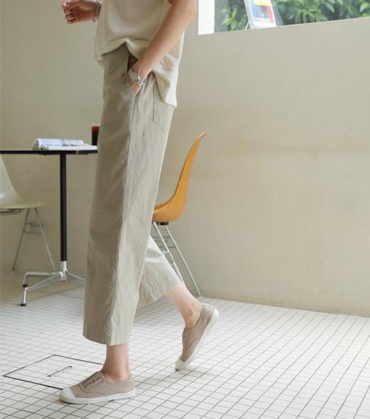 roompacker-룸페커 [애니 더블버튼 뒷밴딩 팬츠]♡韓國女裝褲