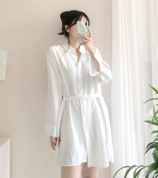 uniqueon-에어컨 여름 셔츠 스트랩끈 미니원피스 [H0490]♡韓國女裝連身裙