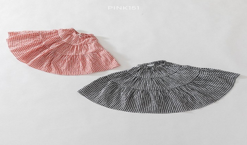 lovely2min-핑크151 체크캉캉스커트 (S~JL) - lovely2min♡韓國童裝褲