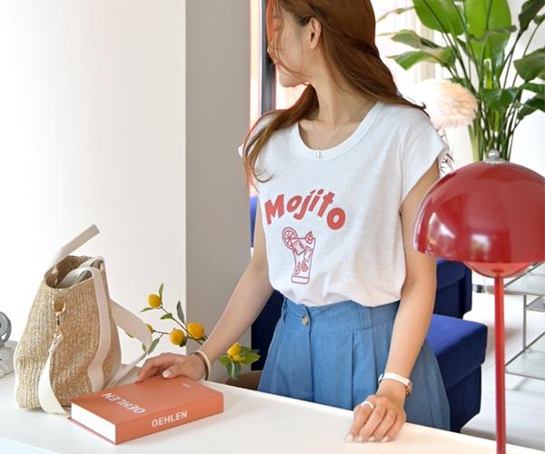 DailyN-모즈 프린팅 캡나시 티셔츠♡韓國女裝上衣