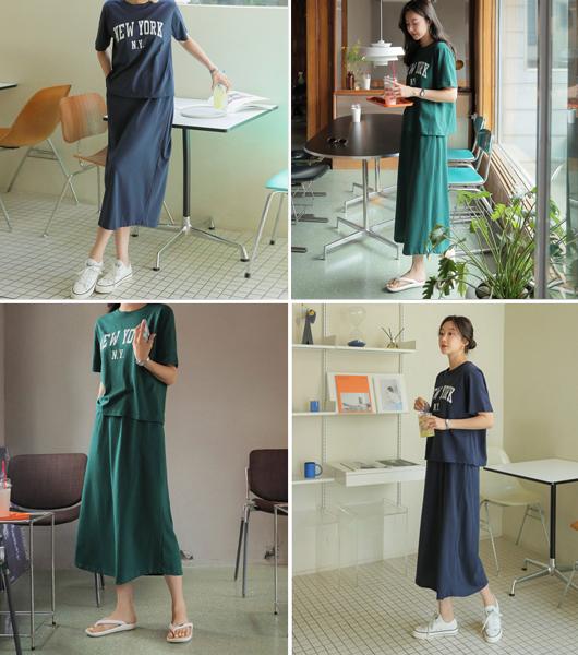 roompacker-룸페커 [[세트상품] N.Y 티셔츠 & 밴딩스커트]♡韓國女裝套裝