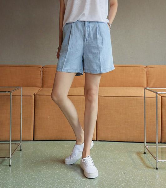roompacker-룸페커 [오가닉 린넨 4부 데님팬츠]♡韓國女裝褲