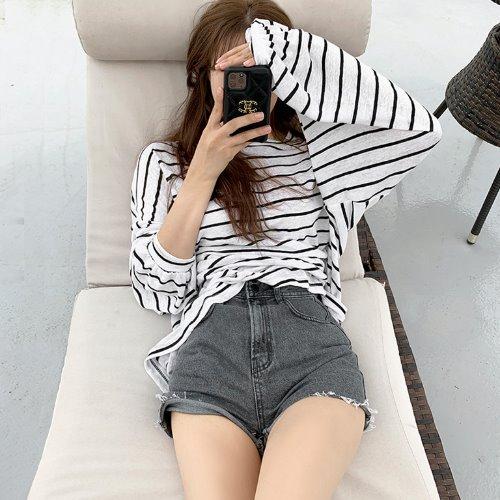 jnroh-(린넨50%) 루크 스트라이프 루즈핏 썸머 긴팔 티셔츠 (아이보리,블랙)♡韓國女裝上衣