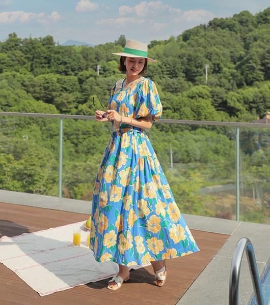 roompacker-룸페커 [지니 플로럴 퍼프 원피스]♡韓國女裝連身裙