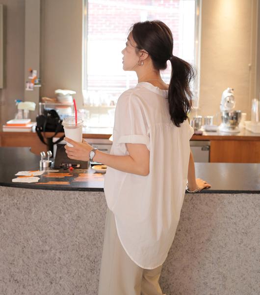 roompacker-룸페커 [차이나 셔링 루즈핏 셔츠]♡韓國女裝上衣