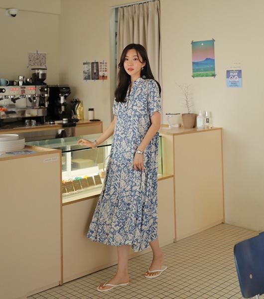 roompacker-룸페커 [블루밍 반오픈 레이온 원피스]♡韓國女裝連身裙