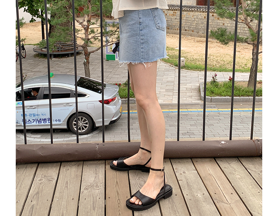 frombeginning-미니청키 라운드레더샌들 (3color)♡韓國女裝鞋