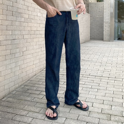 modernsweet-썸머 린넨 데님 세미와이드 팬츠 S-L - 모던스윗(modernsweet)♡韓國男裝褲子
