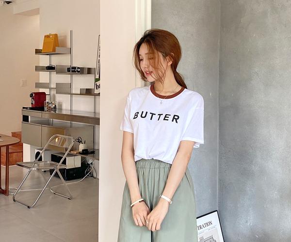 DailyN-버터리 레터링 반팔 티셔츠♡韓國女裝上衣