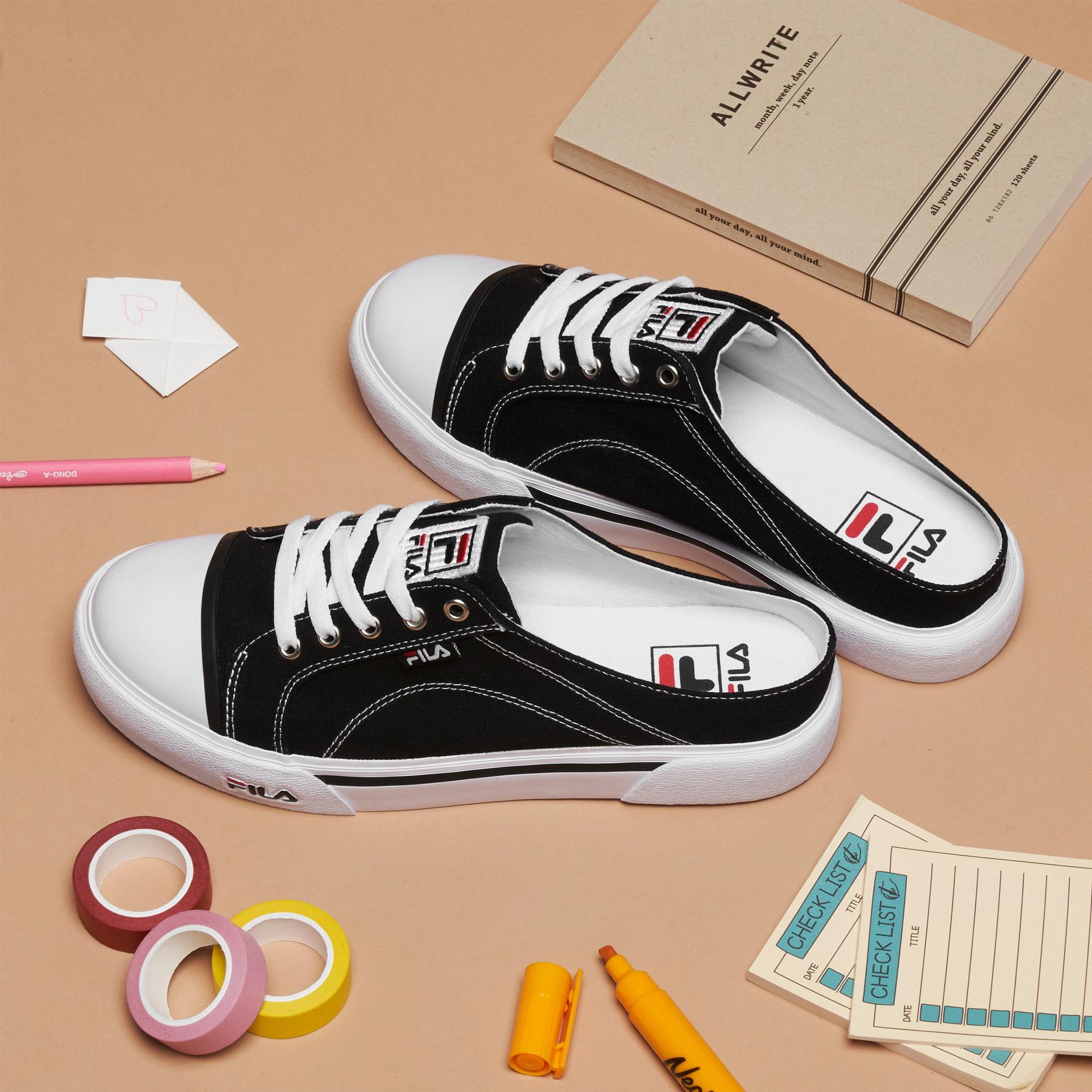 韓國FILA COMO MULE 懶人半拖鞋布鞋 (黑色)