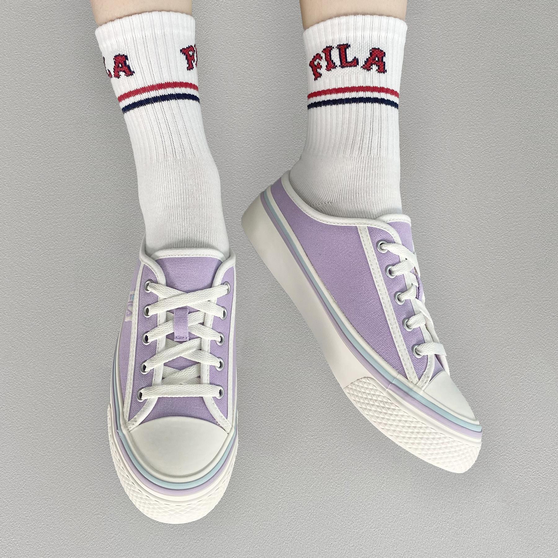 韓國FILA SCANLINE MULE 綁帶布鞋 (紫色)