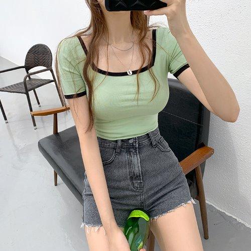 jnroh-(모달38%) 딥크 스퀘어넥 배색 반팔 크롭 티셔츠 (화이트,민트,핑크,블랙)♡韓國女裝上衣