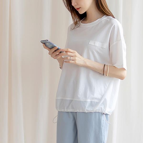 misscandy-[no.20649 밑단배색&스트링 쿨아이스 티셔츠]♡韓國女裝上衣