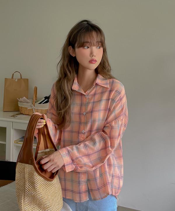 loveloveme-라인딩 체크셔츠남방 | 럽미♡韓國女裝上衣