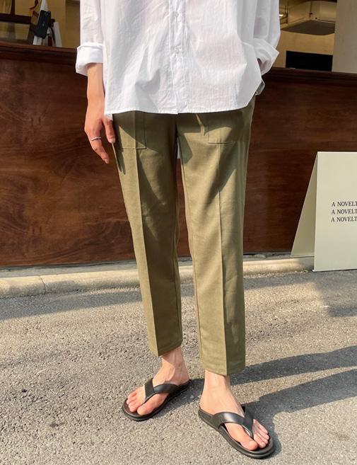 new-more-기획 포켓 린넨 밴딩팬츠♡韓國男裝褲子