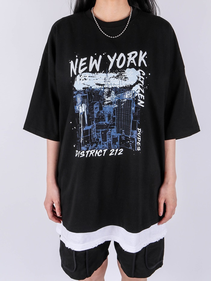 justyoung-RM New York Short Sleeve Tee (2color)♡韓國男裝上衣
