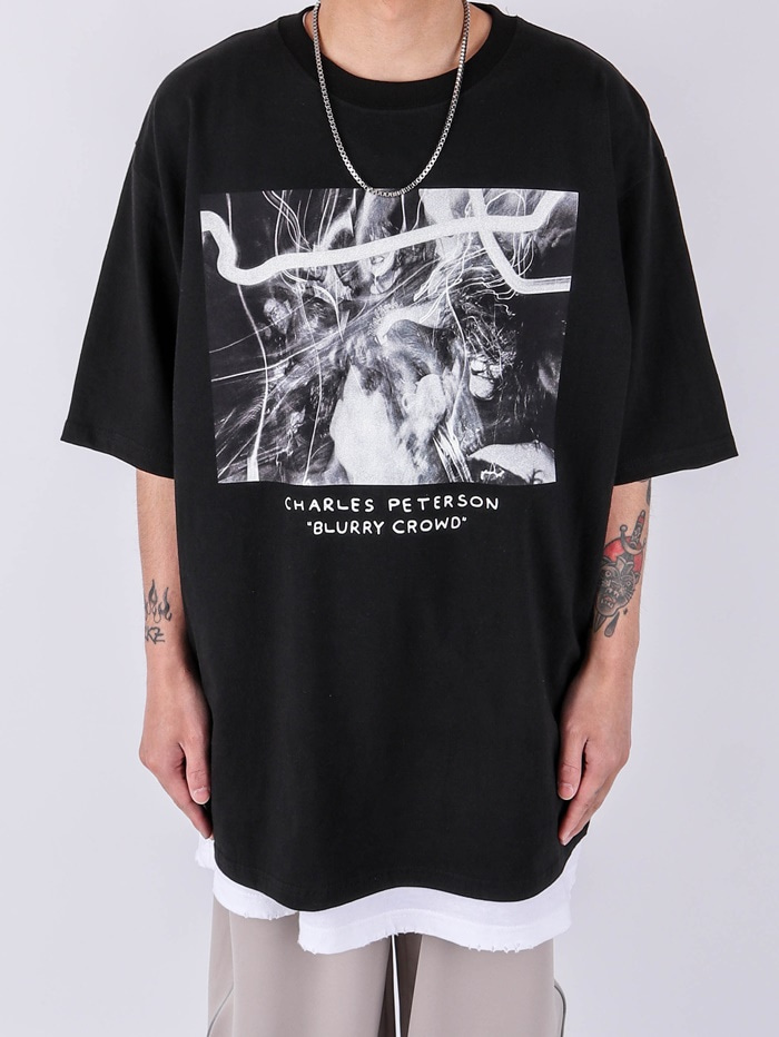 justyoung-AC Blurry Crowd Short Sleeve Tee (2color)♡韓國男裝上衣