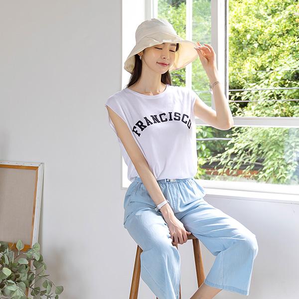 misscandy-[no.20647 영문레터링 내추럴핏 민소매탑]♡韓國女裝上衣