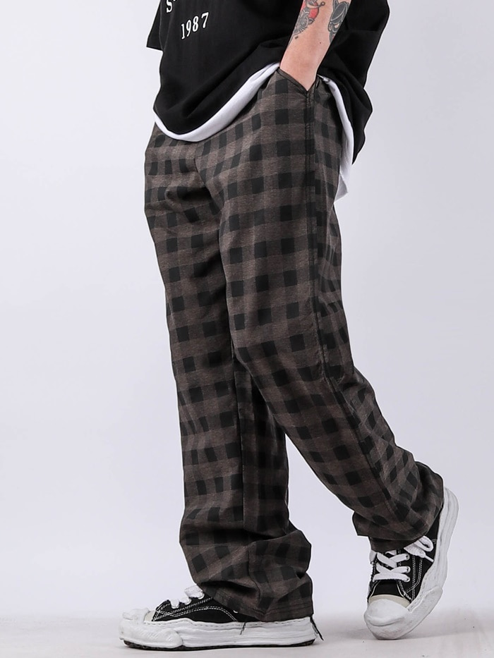 justyoung-SC Martin Check Wide Pants (2color)♡韓國男裝褲子