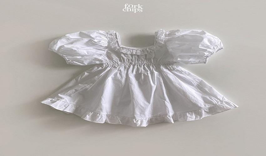 lovely2min-포크칩스 퓨어원피스 (S~4XL) - lovely2min♡韓國童裝連身裙