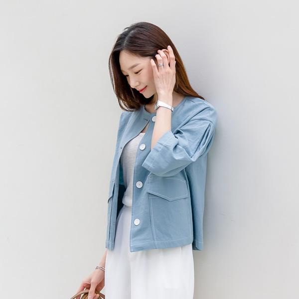 misscandy-[no.20642 스티치포인트 노카라 린넨자켓]♡韓國女裝外套