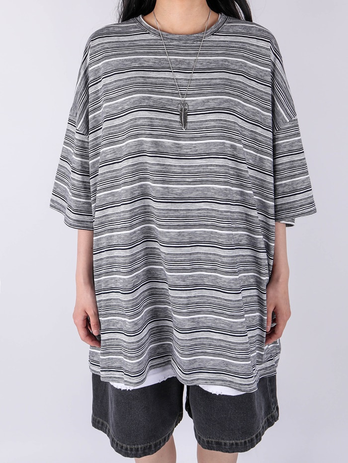 justyoung-KS Over Stripe Short Sleeve Tee (3color)♡韓國男裝上衣