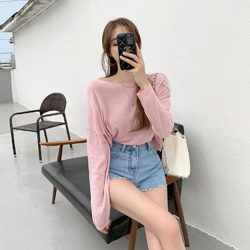 jnroh-바율 부클 보트넥 루즈핏 니트 (아이보리,핑크,베이지,블랙)♡韓國女裝上衣