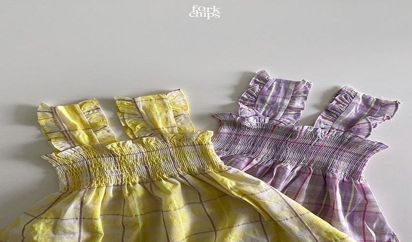lovely2min-포크칩스 스텔라체크원피스 (S~2XL) - lovely2min♡韓國童裝連身裙