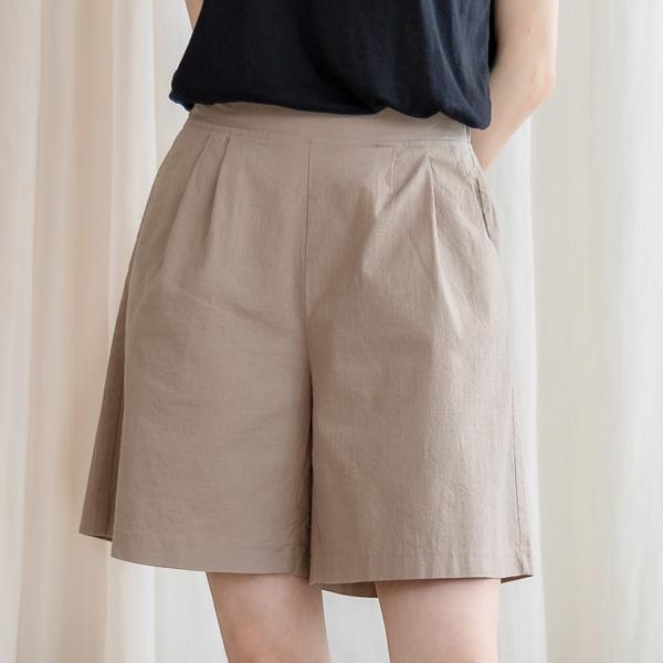 misscandy-[no.20648 린넨혼방 투핀턱 반밴딩 4부팬츠]♡韓國女裝褲