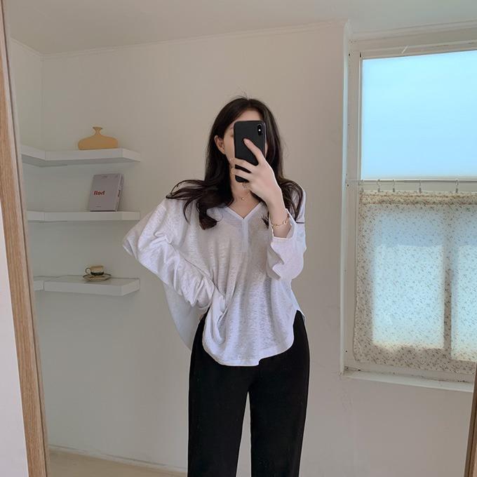 henique-하이후디 썸머 린넨 시스루 브이넥 반오픈 후드 긴팔 티셔츠 (아이보리/소라/핑크/블랙/베이지)♡韓國女裝上衣
