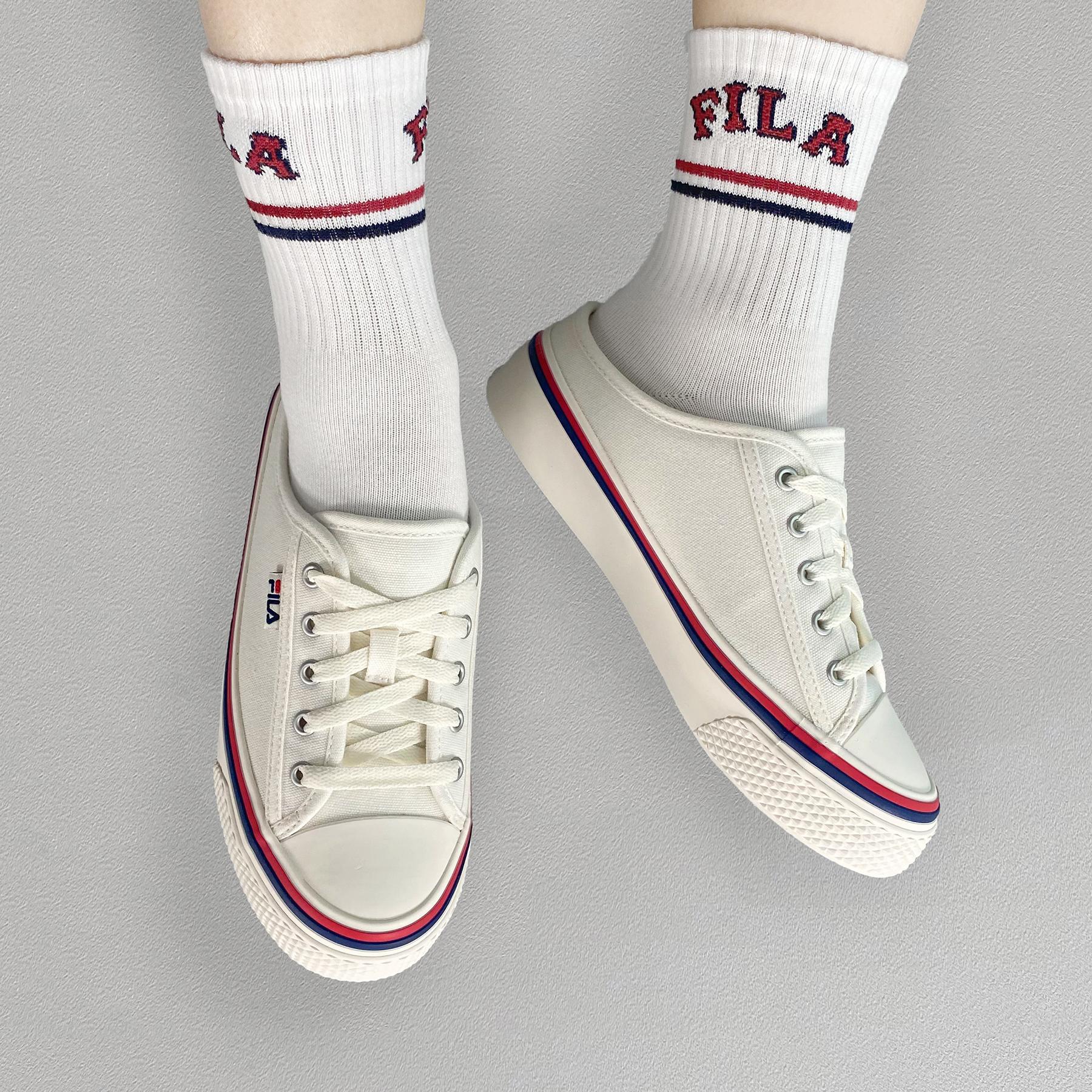 韓國FILA SCANLINE MULE 綁帶布鞋 (白色)