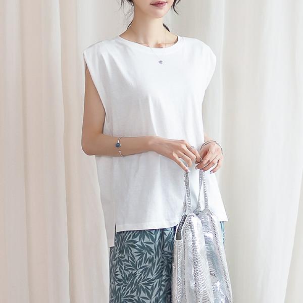 misscandy-[no.20638 드롭숄더 옆트임 루즈핏 코튼티셔츠]♡韓國女裝上衣
