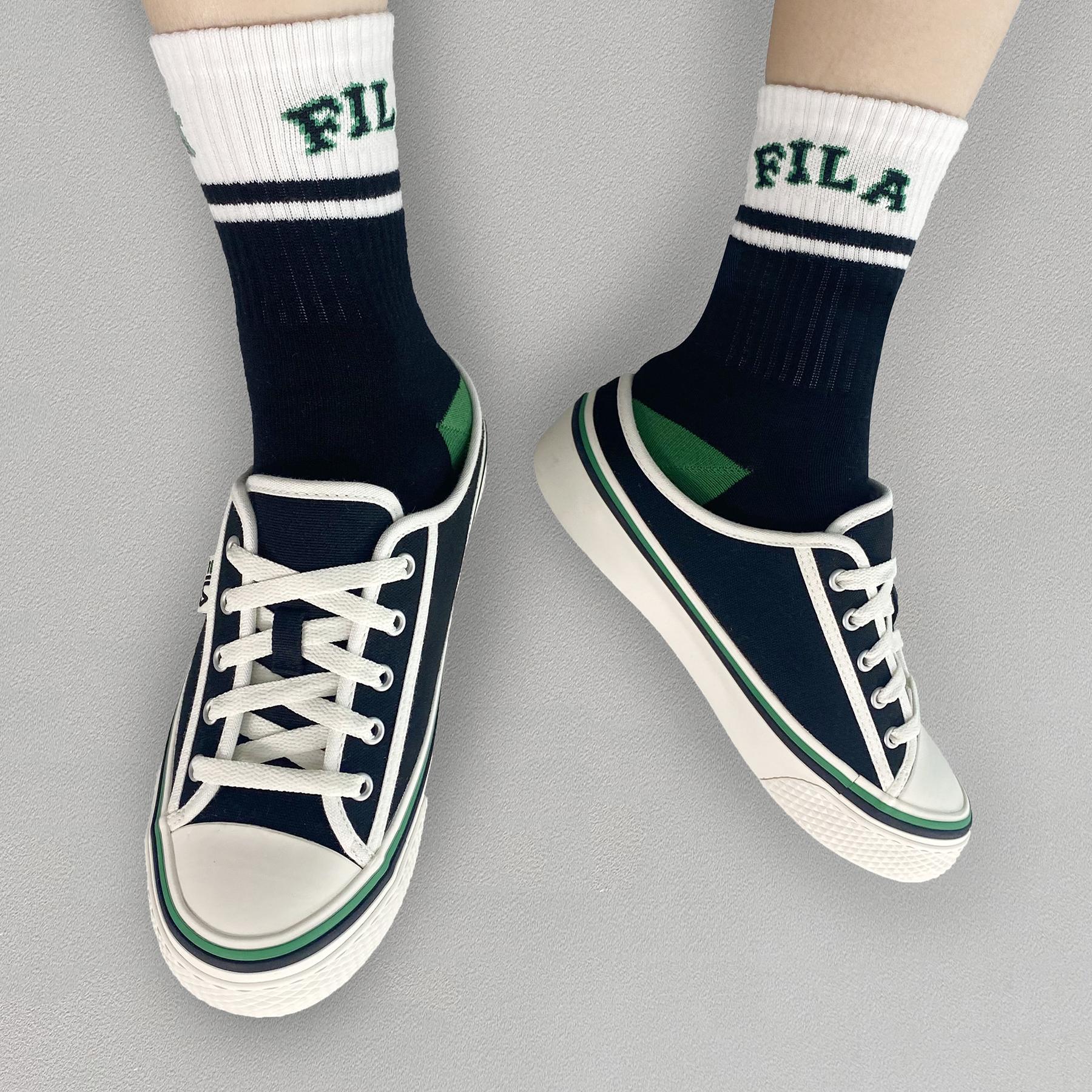 韓國FILA SCANLINE MULE 綁帶布鞋 (綠黑色)