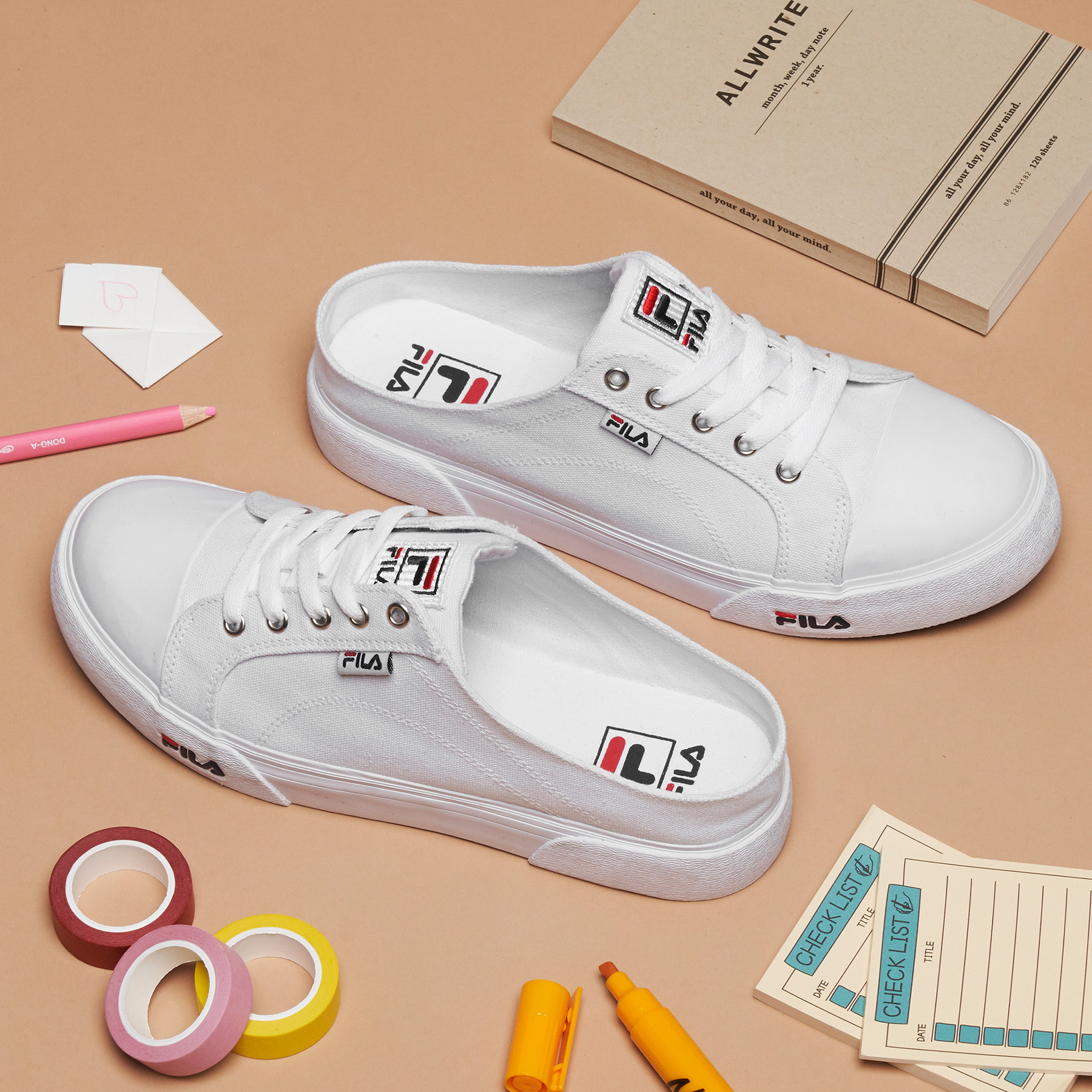 韓國FILA COMO MULE 懶人半拖鞋布鞋 (白色)