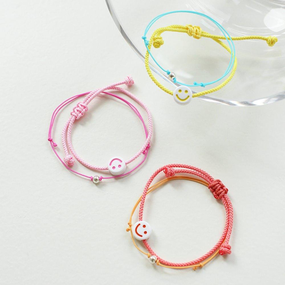 littleblack-스마일 레이어드 팔찌(3C)(2개 1세트)♡韓國女裝飾品
