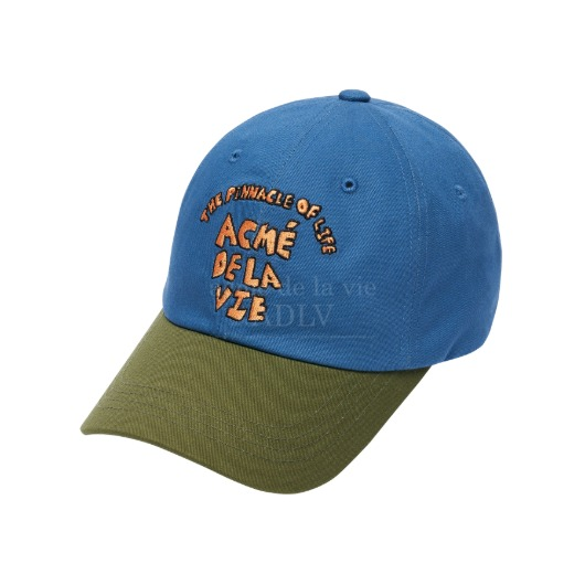 acmedelavie-[아크메드라비] TWO-TONE COLOR EMBROIDERY BALL CAP OLIVE♡韓國男裝飾品