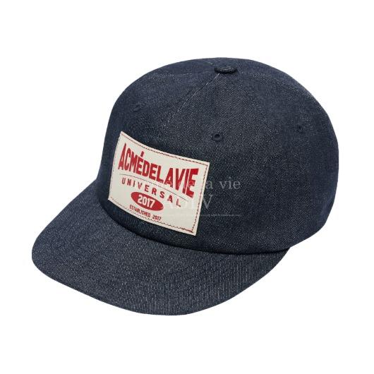 acmedelavie-[아크메드라비] DENIM LABEL PATCHWORK BALL CAP DEEP BLUE DENIM♡韓國男裝飾品