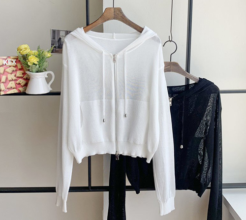 beige blanc-에이미 비스코스 후드 니트 집업 숏 가디건]♡韓國女裝外套