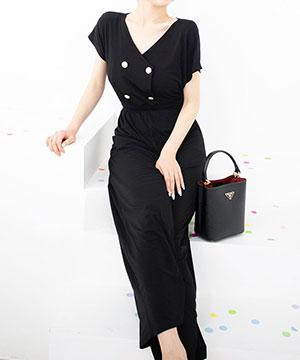 as-fit-[더블랙 버튼 점프수트]♡韓國女裝褲