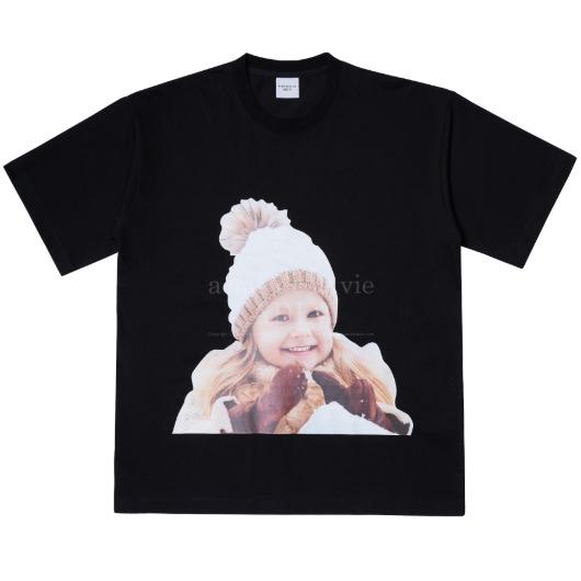 acmedelavie-[해외전용 상품] ADLV BABY FACE SHORT SLEEVE T-SHIRT BLACK BROWN BEANIE♡韓國男裝上衣