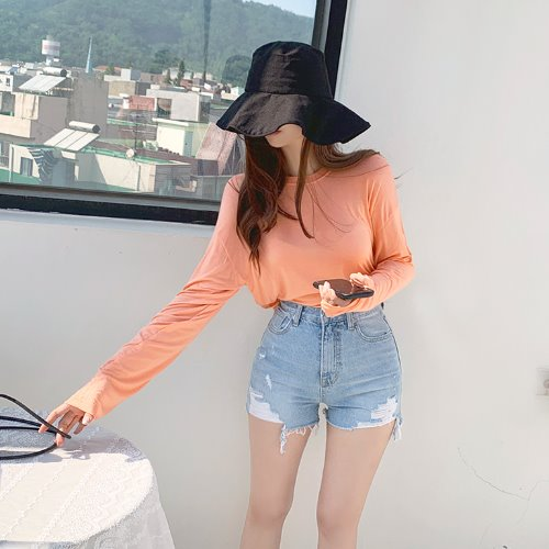 jnroh-레이폴 찰랑 여리핏 썸머 반크롭 티셔츠(아이보리,살구,옐로우,그레이,블랙)♡韓國女裝上衣