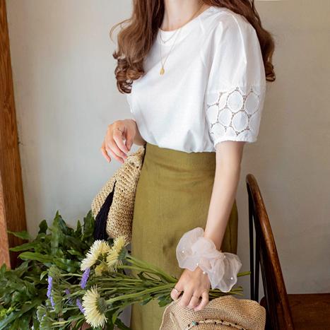 leelin-[킨로즈 소매 원레스 티[size:F(55~66)]]♡韓國女裝上衣
