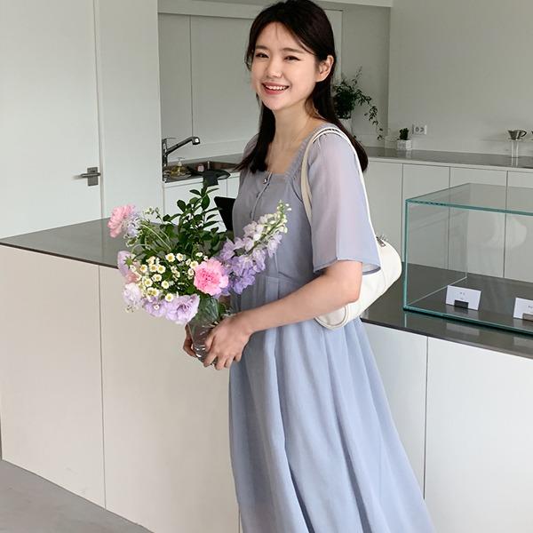 66girls-[LL] 파우더버튼업롱OPS♡韓國女裝連身裙