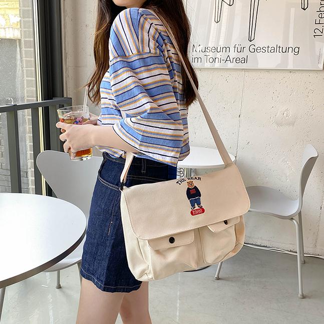 sonyunara-더베어 곰돌이 학교 크로스백 가방♡韓國女裝袋