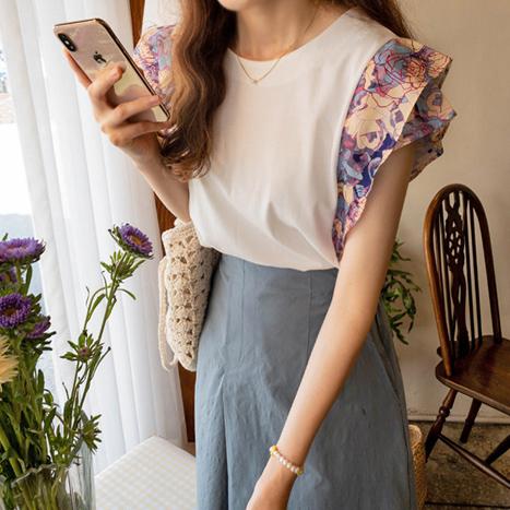 leelin-[로버츠 소매플라워 썸머티 [size:F(55~66)]]♡韓國女裝上衣
